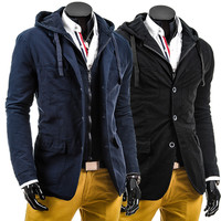 Two Layered Zip and Button Design Men's Fashion Jacket with Hood