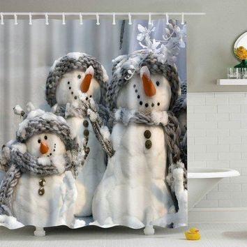 Christmas Waterproof Snowman Printed Bath Shower Curtain