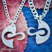 Infinity Necklaces, Couples Jewelry, hand cut coin by Namecoins