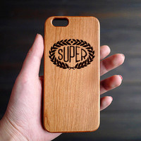 Super Cherry Wood iPhone 6s Case , Wooden iPhone 6 6s One Piece Case , Engraved iPhone 6s Case Wood ,  Custom iPhone 6s Wood Case , Gift