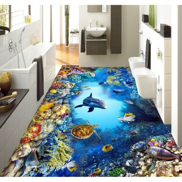 3D pvc flooring custom wall sticker The underwater world 3D bathroom flooring painting photo wallpaper for walls 3d