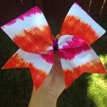 Pink and Orange Neon Tie Dye Cheer Bow