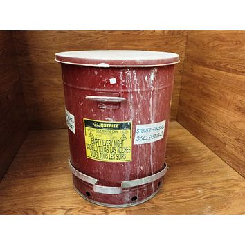 Justrite Oily Waste Can 21 Gallon 79 Liters 21in D x 24in 09700 Galvanized Steel -- Used