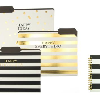 Happy Stripe File Folder Set and Journal in Black, White and Gold Gift Set