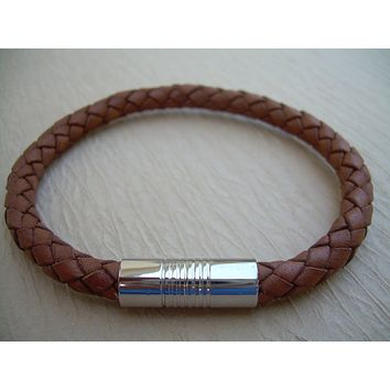 Men's Thick Saddle Brown Braided Leather Bracelet with Stainless Steel Magnetic Clasp
