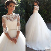 Sheer Neck Half Sleeves Bridal Wedding Dress with Detachable Sash