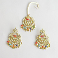 Gold Jadau Kundan Multicolor Earrings tikka Pipal Patti Set/ Tikka Set/Indian Punjabi Muslim Mughal Bridal Wedding Online/Jadau Jewelry