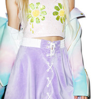 Coveted Society Pastel Faux Fur Bomber Skirt Multi