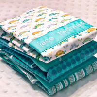 SALE Personalized Burp Cloth Set - Set of 3 Personalized Burp Cloths Baby Boy Aqua and Teal Turtles Polka Dots and Herringbone Stripe