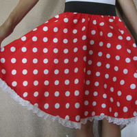 Custom Sized Minnie Mouse Skirt With Lace For All Ages
