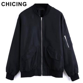 CHICING Fashion Bomber Women Stand Collar Zipper Pockets Casual Jacket 2017 High Street Fall Winter Motorcycle Coat B1509180