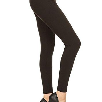 Tall and Curvy Brown Brushed Leggings