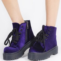 Y.R.U. Youth rise up Purple Velvet Rave Combat Boots
