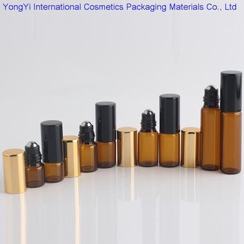 5Pcs1ML2ML3ML5ML10ML Amber Roll On Roller Bottle for Essential Oils Refillable Perfume Bottle Deodorant Containers With Gold Lid