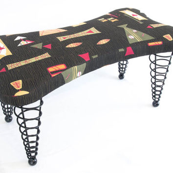 "Modern Handmade Upholstered Bench, Dog bone shape with Spiral Cone Legs, 36"" Length, Black Atomic Fabric"