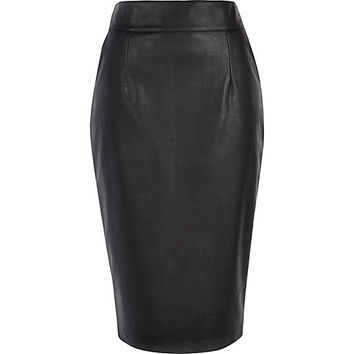 River Island Womens Black high waisted leather-look pencil skirt