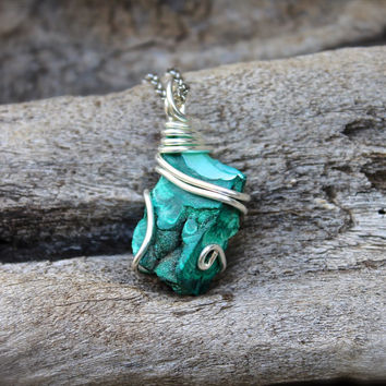 Raw Malachite Necklace - Festival Fashion - Green Stone Jewelry - Malachite Jewelry - Boho Jewelry - Rough Stone Necklace - Wiccan Necklace
