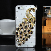 "iPhone 6 Case, MC Fashion Peacock Crystal Rhinestone 3D Diamante Hard Shell Phone Case Compatible for Apple iPhone 6 4.7"" (2014) ONLY (Black)"