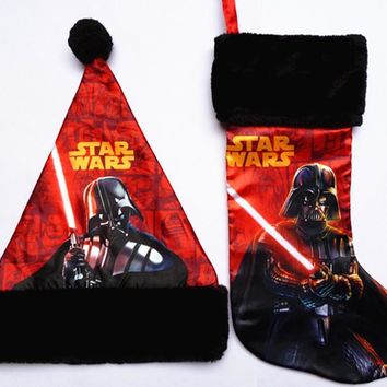 Free Shipping.high quality 42cm plush satin Star Wars movie cartoon Christmas stockings hat sock candy gift bag