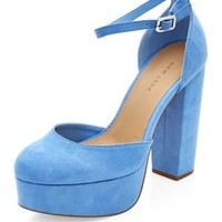 Pale Blue Pointed Platform Ankle Strap Heels