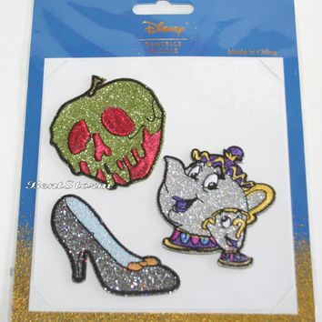 Licensed cool Disney Danielle Nicole Sticker Patches Mrs Potts Chip Poison Apple Glass Slipper