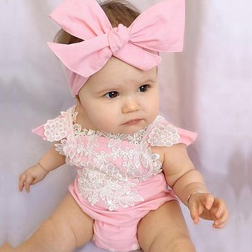 Newborn Girls Pink Lace Floral Overalls Backless Overalls Outfits Set Headband Women Beach Suit