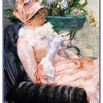 Enjoying a Cup of Tea by American Impressionist Artist Mary Cassatt Counted Cross Stitch Pattern