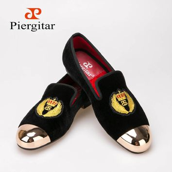 Velvet Men Shoes Metal toe with hand embroidery Smoking Slipper size- Free Shipping