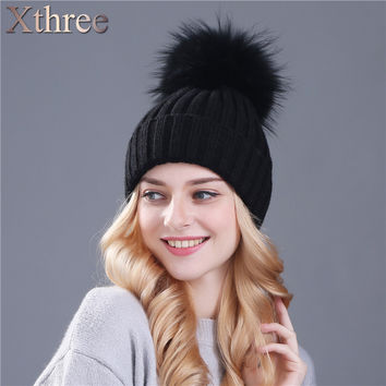 xthree real mink fur colour pom poms winter hat for women girl 's hat knitted beanies cap thick female cap