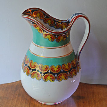 Italian Hand Painted Pitcher, Vintage Pitcher