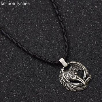 ESBONIS fashion lychee Norse Viking Odin Raven Pendant Long Rope Chain Animal Power Necklace Antique Silver Color Amulet Men Jewelry