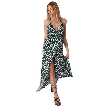 Maxi Print Dress with Crossback Detail and Thigh-high split
