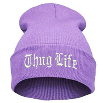 THUG LIFE Letter Embroidered Unisex Beanie Fashion 2pac Hip Hop Mens & Womens Knitted Light Purple & White Tupac Cuffed Skully Hat