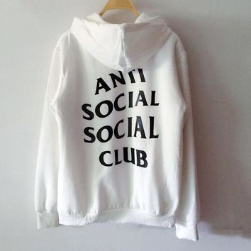 "Hot Sale ""Anti Social Social Club"" Fashion Cotton Hoodies White"