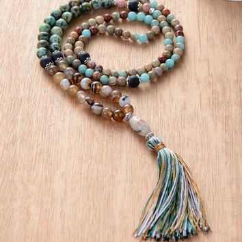 108 Beads Necklace Natural Stone Onyx Colorful Tassel Mala Necklace Bohemia String Knotted Women Long Necklace Dropshipping