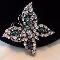 Vintage Estate Diamante Ice Blue Butterfly Brooch Glass Rhinestone Silver Plate Insect Pin
