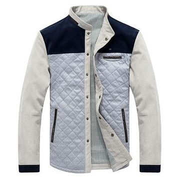 *online exclusive* men's quilted jacket w/ suede shoulders