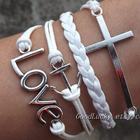 Lovers bracelet--Unisex  simple fashion silver LOVE,anchor,cross bracelet--white wax rope and leather braided bracelet
