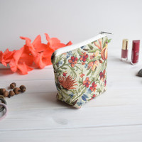 Floral charger bag with zipper, Charger case, Cosmetic pouch, Make Up Pouch, Toiletery bag, Project bag, Travel bag, Coin Purse