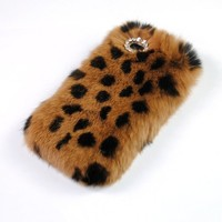 iPhone 6 Case, Leopard Print Bling Diamond Fluffy Cover [Genuine Rex Rabbit Fur Case] Winter Wammer Handmade Soft Crystal Case Caselo 3 Pieces Accessories For iPhone 6, Extremely Luxury Bling Cover + Free Stylus Pen + Free Screen Protector Film + Free Uniq
