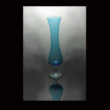 Teal Bud Vase Hand Blown Glass With Clear Glass Foot and Stem