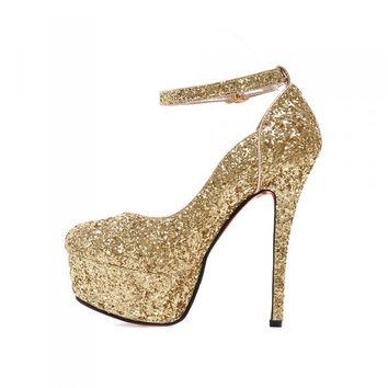 women shoes high heels wedding shoes round toe ankle straps platform shoes red bottom gold and sliver sexy ladies pumps