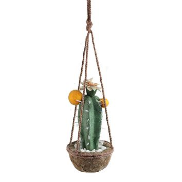 """8"""" Green and Orange Southwestern Style Hanging Potted Cactus with Flowers"""