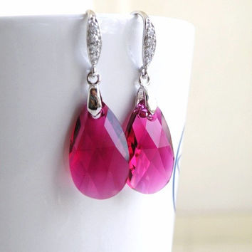 Hot Pink Fuchsia Swarovski Crystal Teardrop Sterling Silver CZ Dangle Earrings Wedding Jewelry Bridesmaids Jewelry