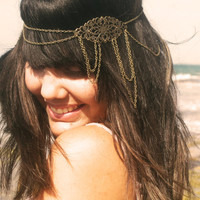 Chain  Headpiece Headband Bohemian Hipster Boho Hippie Bronze Floral Long Centerpiece Four Drape Bridal  Jewelry