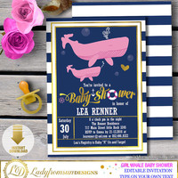Girl Whale Baby Shower ,Whale Baby Shower Invites, Whale Invitation,template, its a Girl, striped, Printable, Editable|DIY INSTANT DOWNLOAD
