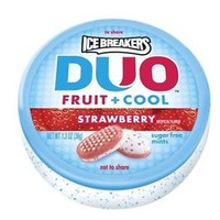Ice Breakers Duo Fruit + Cool Mints Strawberry 1.3-Ounce Containers (Pack of 8)