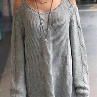 Knitted Open Shoulder Pullover