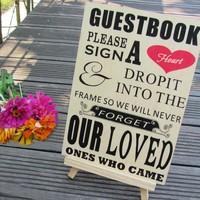 "Weddings ""Please Sign A Heart"" Sign for Wooden Wedding Heart Drop Box"