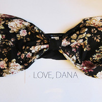Black Floral Bow Bra